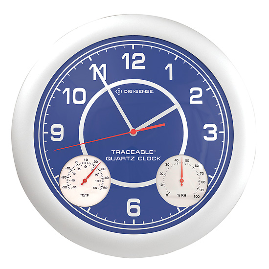 cole parmer time temperature and humidity analog wall clock from cole