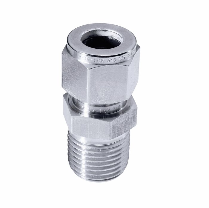 Swage in line housing ss npt m fitting from cole