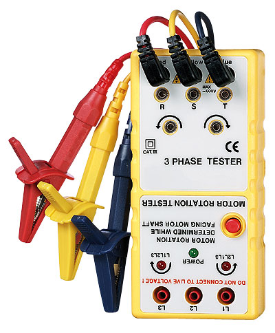 Three phase and motor rotation tester from cole parmer for 3 phase motor rotation