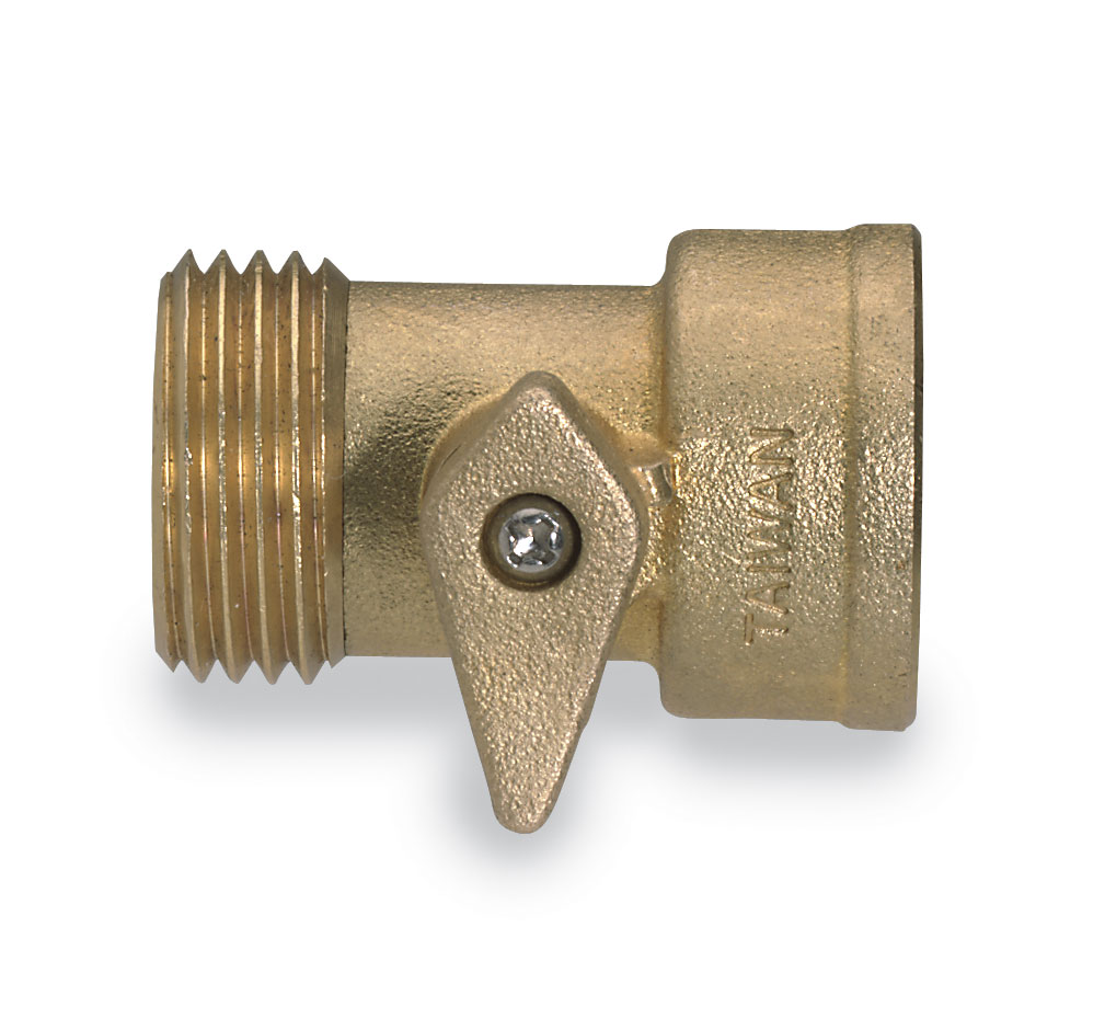 Male female garden hose adapter with shutoff valve from cole parmer for Male to male garden hose adapter