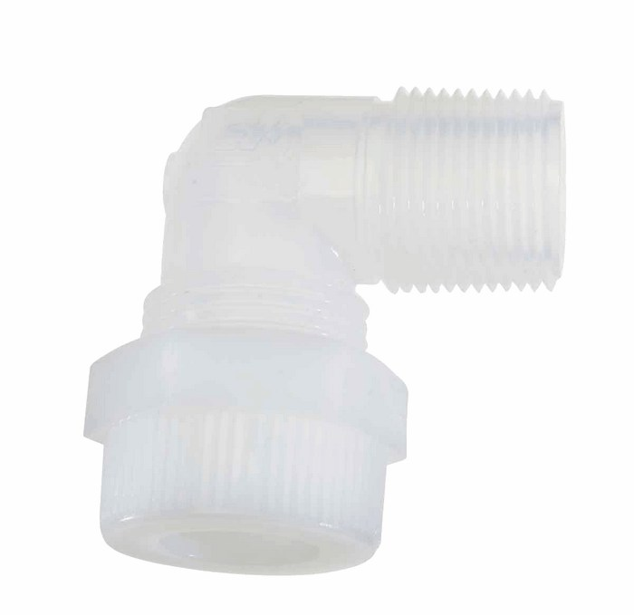 Pharmafluor compression to male npt thread elbow pfa