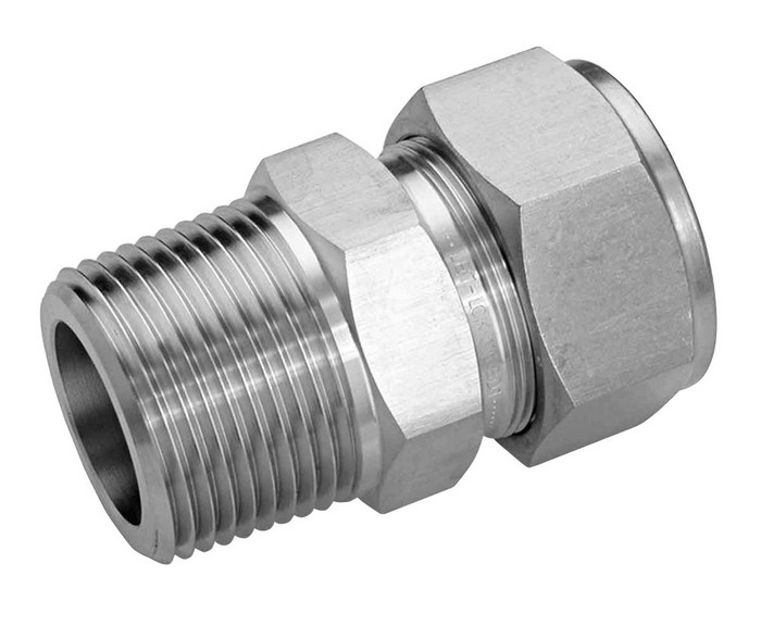 Compression to thread adapter stainless steel mm od