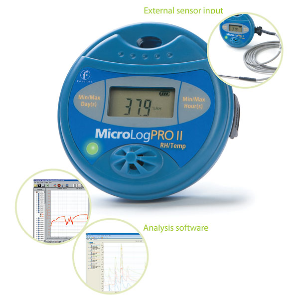 Product Data Logger Software : Micrologproii temperature humidity data logger ec with