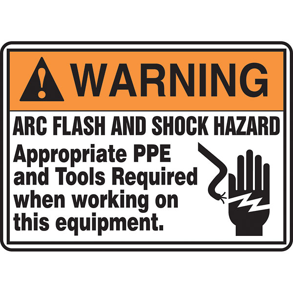 Safety sign arc flash and shock hazard ppe required 10x14 for Arc flash sign