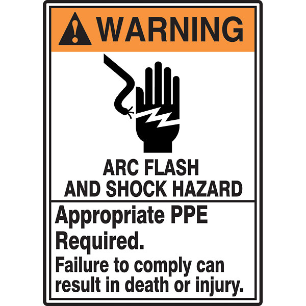 Safety sign arc flash and shock hazard ppe req 14x10 for Arc flash warning signs