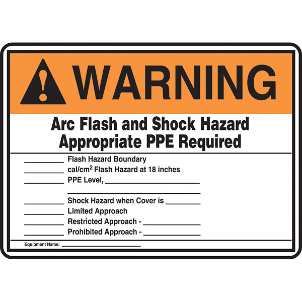 Safety sign arc flash and shock hazard 10x14 adhesive for Arc flash warning signs