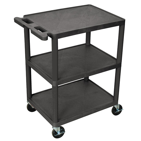 Luxor Utility Cart, with Two Flat Shelves, Black
