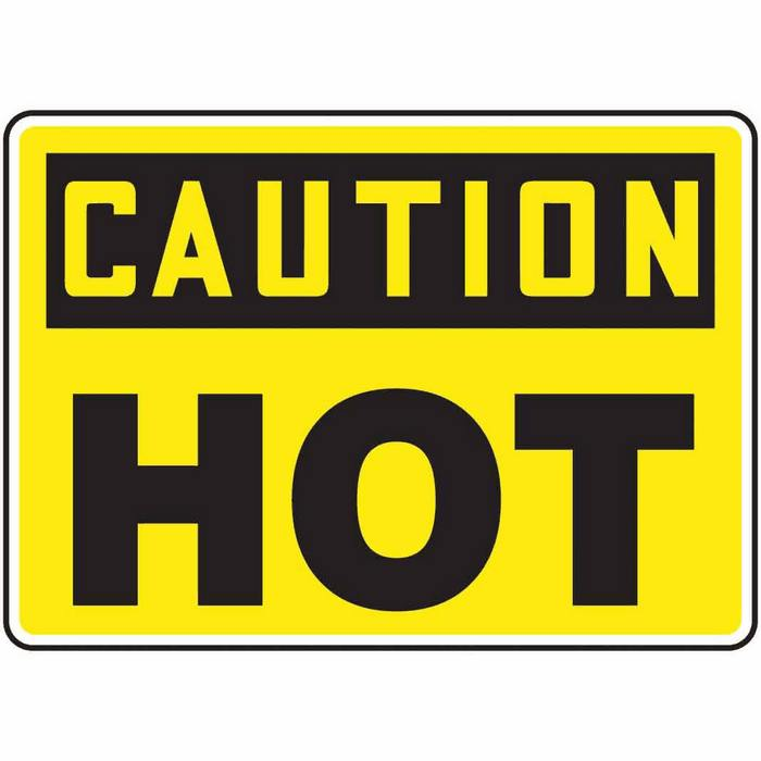 hot caution sign