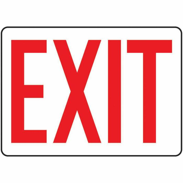 Safety Sign Exit red white 7 X 10 Plastic  Representative photo only Red Exit Sign