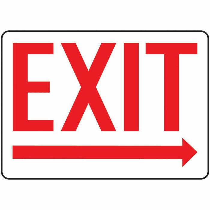 Safety Sign Exit arrow Right 10 X 14 Aluminum Representative photo