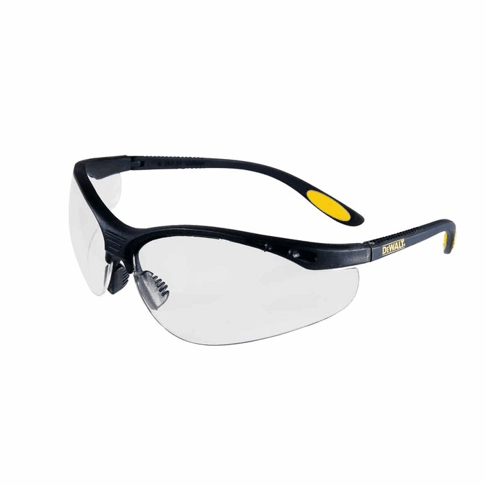 Safety Glasses Black Frame : DeWalt Reinforcer Safety Glasses Black Frame Clear lens ...