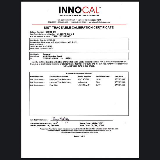 flow meter calibration certificate pdf