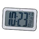 EW-08683-02 Radio-Controlled Large-Digit Wall/Bench Clock, Silver finish