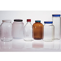 EW-35208-65 Environmental Express TCLP Bottles; the Glass Bottle with PTFE-Lined cap is the shorter bottle with the blue lid.