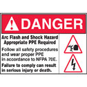 WZ-40400-01 Arc Flash and Shock Hazard Appropriate PPE Required label