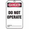 Tag Danger Do Not Operate Back B 5 7 8 X 3 1 8 PF Cardstock (Representative photo only)