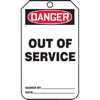 "WZ-40503-68 Tag, Danger Out Of Service, Back A, 5 7/8"" X 3 1/8"", PF-Cardstock"