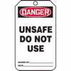 "WZ-40503-72 Tag, Danger Unsafe Do Not Use, Back A, 5 7/8"" X 3 1/8"", PF-Cardstock"