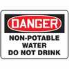 Safety Sign Danger Non potable Water Do Not Drink 10 X 14 Plastic (Representative photo only)