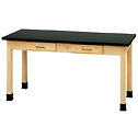 Representative photo only Wood Laboratory Table with Epoxy Top 72 x 30 x 30H