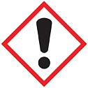 GHS Label Exclamation Point Pictogram 1 x 1 adhesive poly 250 roll (Representative photo only)