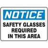 "WZ-61014-13 Safety Sign, Notice - Safety Glasses Required In This Area, 10"" X 14"", Adhesive Vinyl"