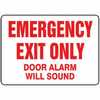 "WZ-61014-40 Safety Sign, Emergency Exit Only - Door Alarm Will Sound, 10"" X 14"", Adhesive Vinyl"