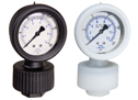 "PP Pressure Gauge, Viton diaphragm seal, 1/4"" NPT(F); 0 to 15 psi"