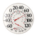 """EW-90000-35 12"""" Dial Metal Thermometer -60F to 120F and -50C to 50C.  Relative Humidity Scale 30% to 90% at Bottom of Dial.  Suitable for Indoor or Outdoor Use.  Rustproof Construction."""