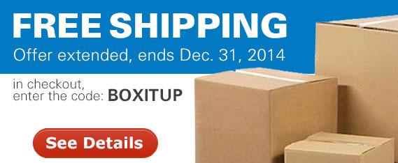 Free shipping now thru December 31, 2014