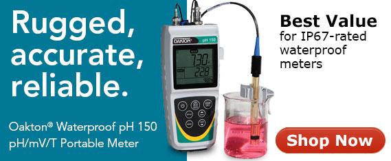 Oakton Waterproof pH 150 Portable pH/mV/T Meter