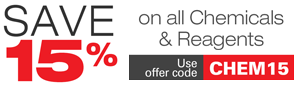 Save 15% on all chemicals and reagents -limited time!