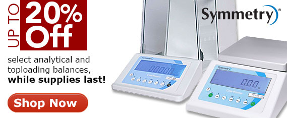 20 percent off Symmetry analytical and toploading balances- select models only