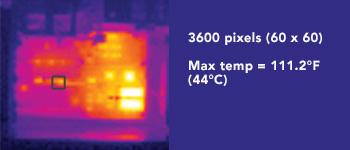 Thermal Imager Resolution 3600 pixels (60 x 60) Max temp = 111.2°F (44°C)