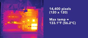 Thermal Imager Resolution 14,400 pixels (120 x 120) Max temp = 133.1°F (56.2°C)