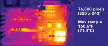 Thermal Imager Resolution 76,800 pixels (320 x 240) Max temp = 160.6°F (71.4°C)