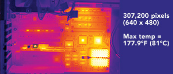 Thermal Imager Resolution 307,200 pixels (640 x 480) Max temp = 177.9°F (81°C)