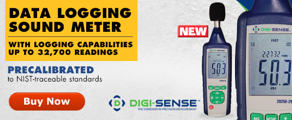 Digi-Sense Data Logging Sound Meter Precalibrated to NIST-traceable standards