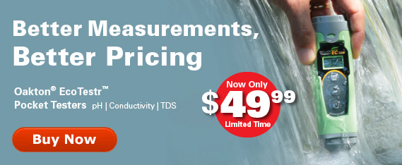 Better measurements, results and pricing. Oakton EcoTestr Pocket Testers now only $49.99 for a limited time
