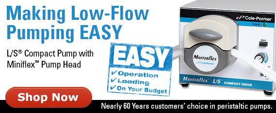 Pump with L/S Miniflex™ pump head delivers repeatable low flow rates with quick setup